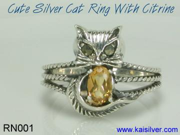 custom cat ring silver or gold
