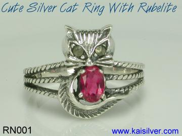 rubelite cat ring