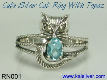 topaz cat ring kaisilver