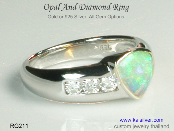 color play effect on opal gemstones