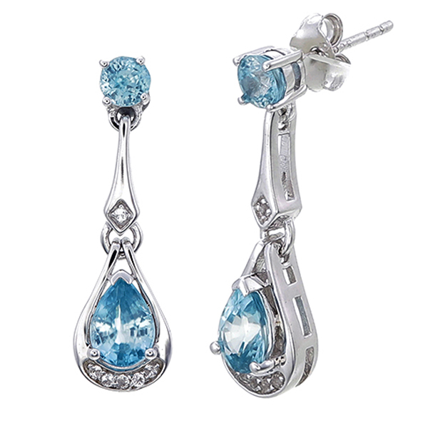 earrings zircon blue gemstone