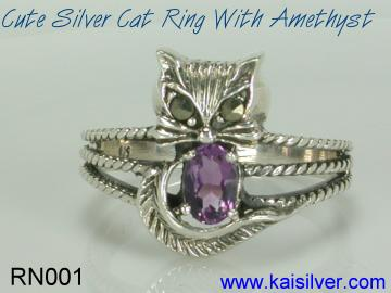 amethyst gemstone cat ring
