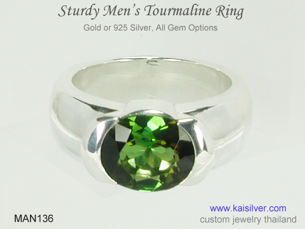 green gem rings for men