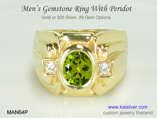 men's gold ring with gemstone peridot
