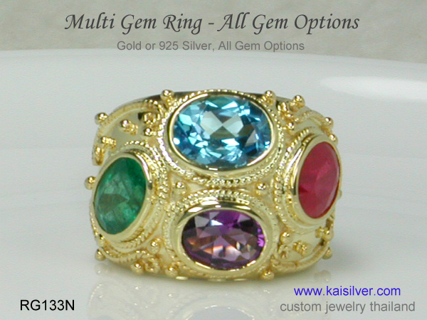 rings with many gems multiple gemstones