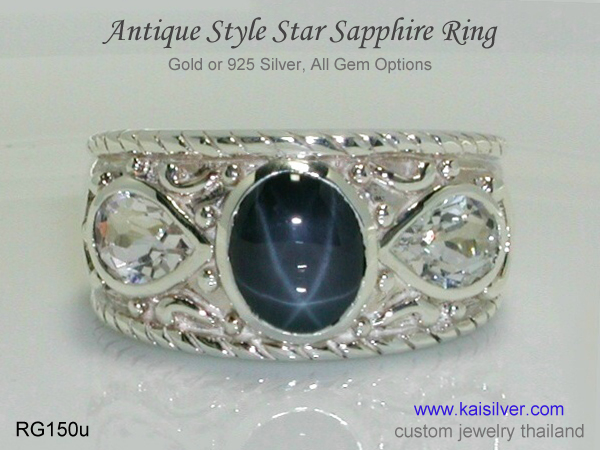 silver gem stone ring