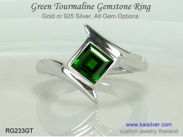 ring with green gemstone